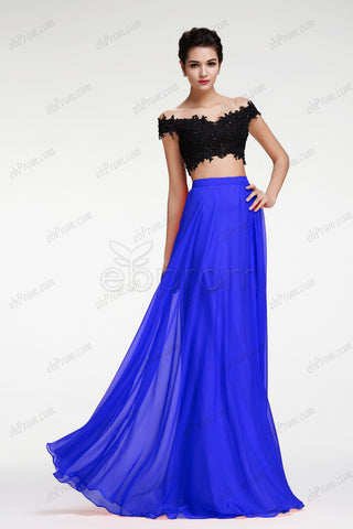 Royal blue two piece prom dress with beaded off the shoulder crop top
