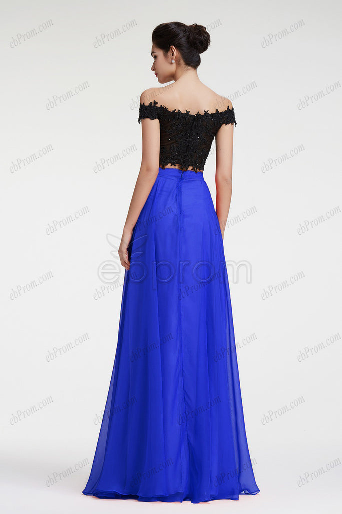 c9f7f7928d ... Royal blue two piece prom dress with beaded off the shoulder crop top  ...