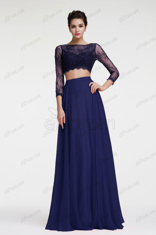 Beaded lace navy blue two piece prom dress long sleeves