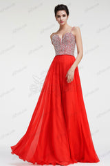 Red Chiffon Sparkle Crystal Prom Dress Spaghetti Straps