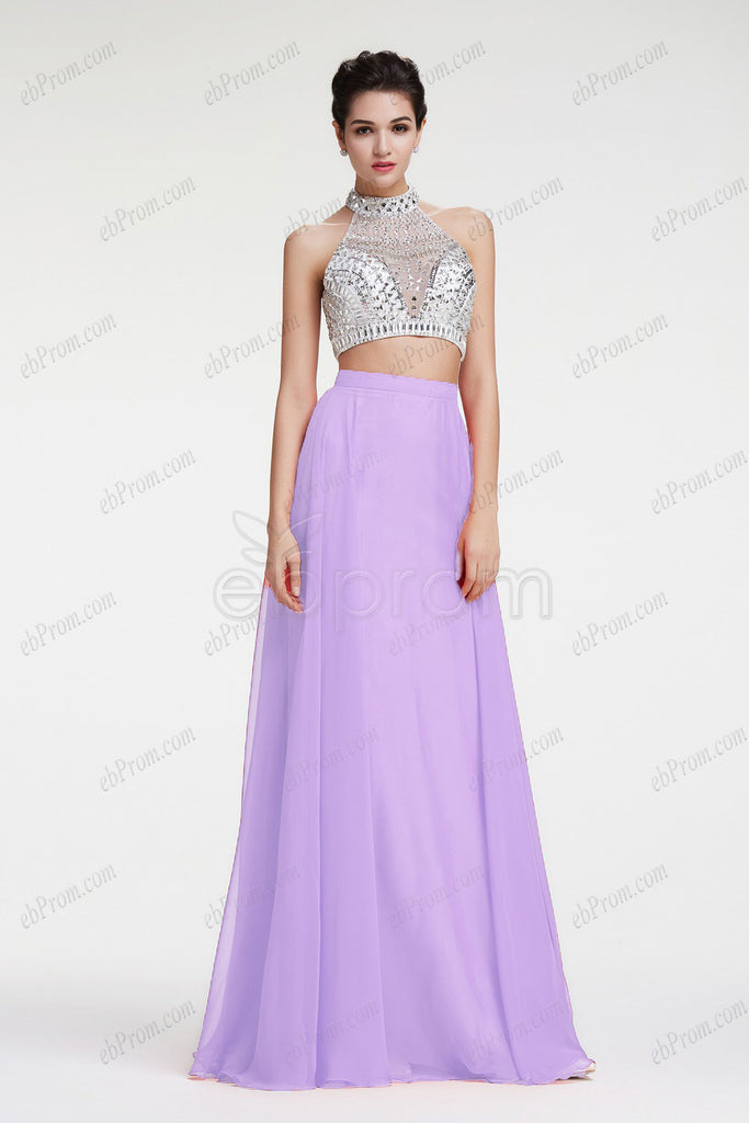 Beaded Crystal Halter lavender two piece homecoming dress prom dress