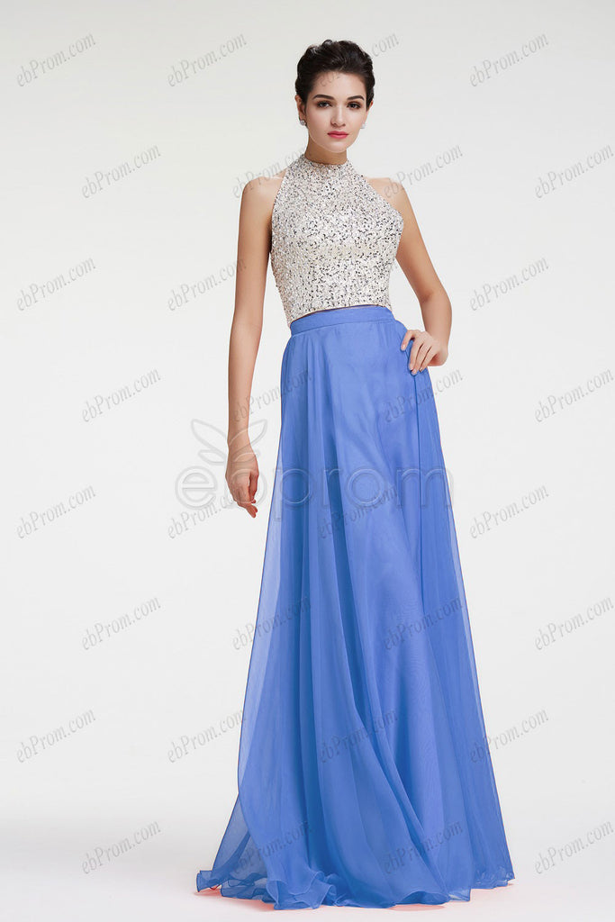 Halter backless blue evening dress prom dress