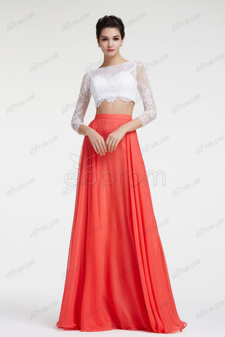Coral two piece prom dresses long sleeves