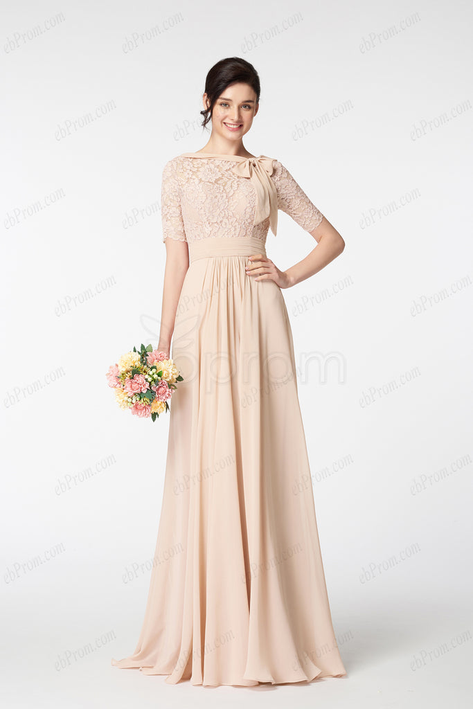 Champagne modest prom dress with sleeves