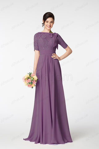 Dusty purple modest bridesmaid dresses elbow sleeves