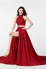 Beaded Red two piece prom dresses long