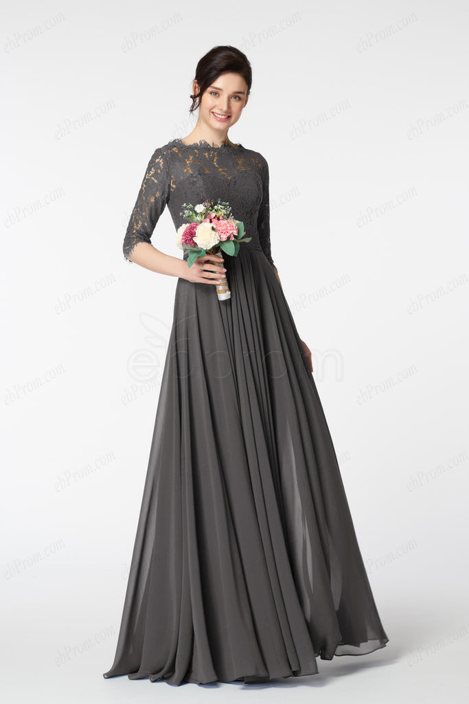 Charcoal Grey Modest Bridesmaid Dress With Sleeves Ebprom
