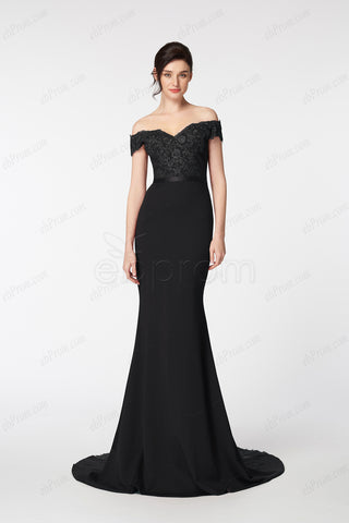 Black Mermaid off the shoulder pageant evening dresses long