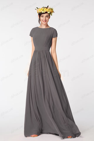 43b0227355d Modest charcoal bridesmaid dresses with sleeves
