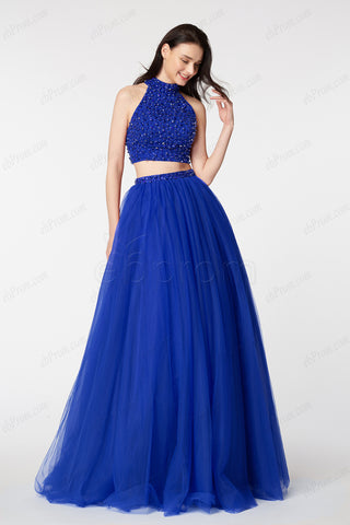 Beaded Royal Blue Two Piece Prom Dresses Long