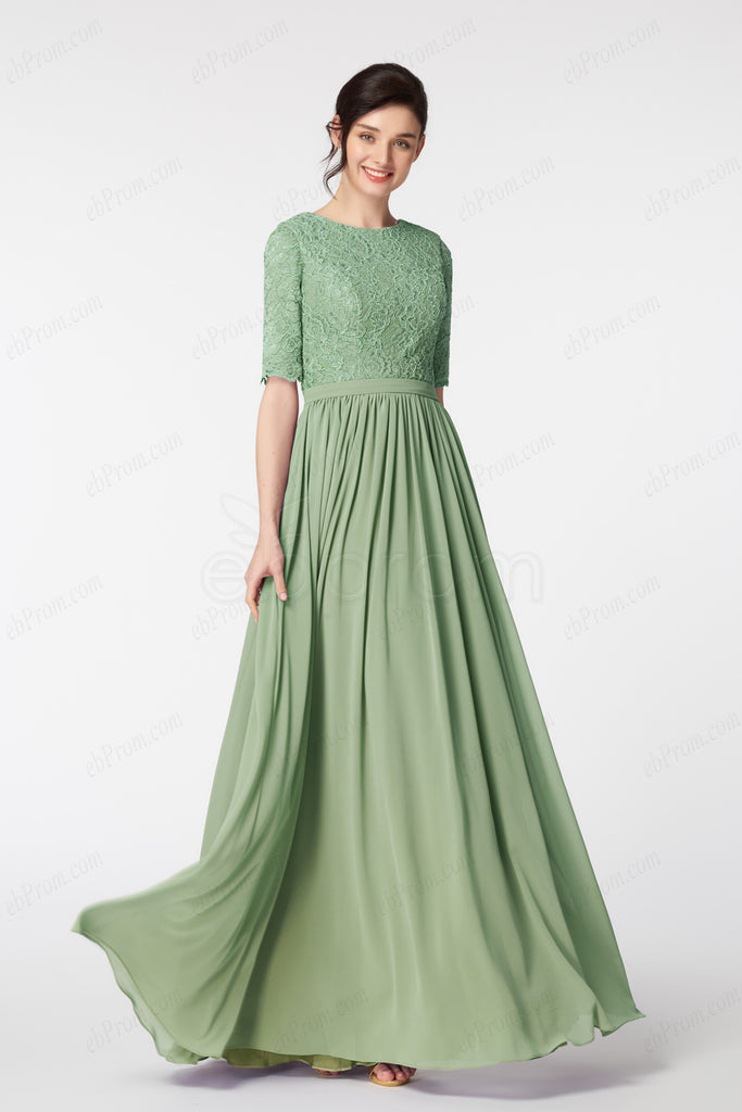 Lace Sage green modest bridesmaid dress elbow sleeves – ebProm