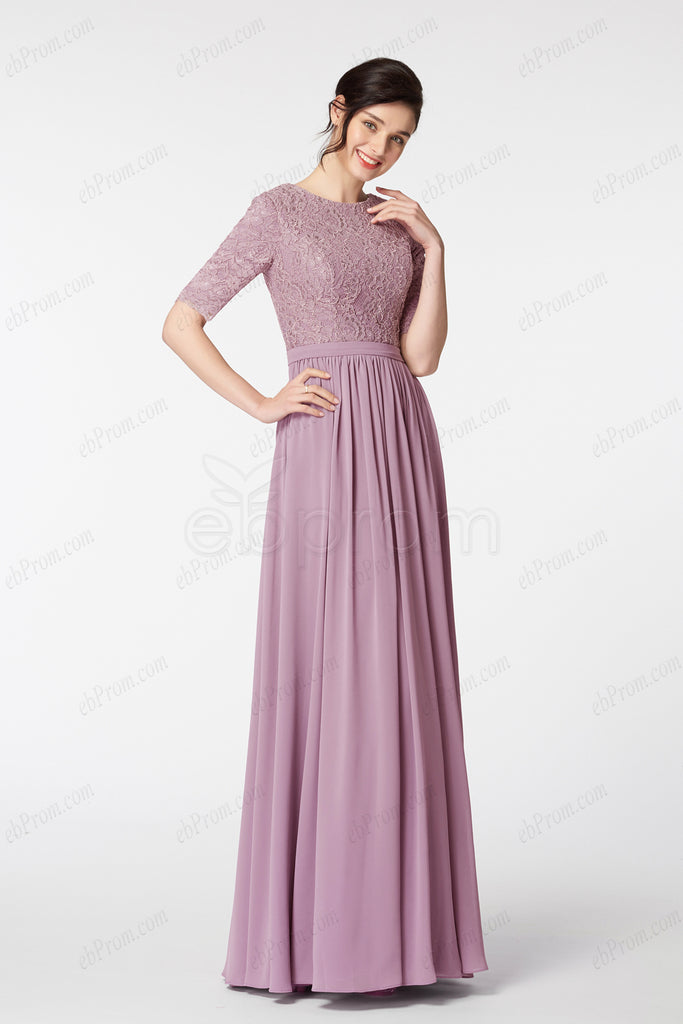 Dusty rose bridesmaid dresses with sleeves