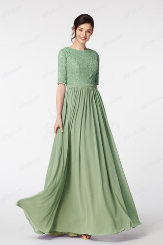 9186cc2358c Lace Sage green modest bridesmaid dress elbow sleeves