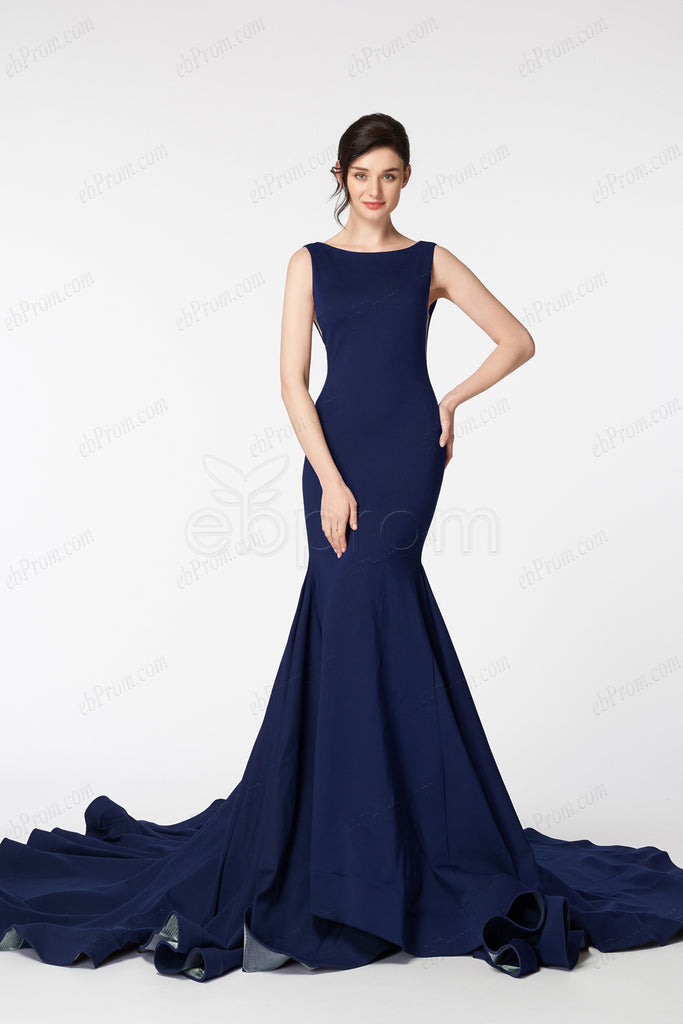 Backless Mermaid Navy blue prom dresses long