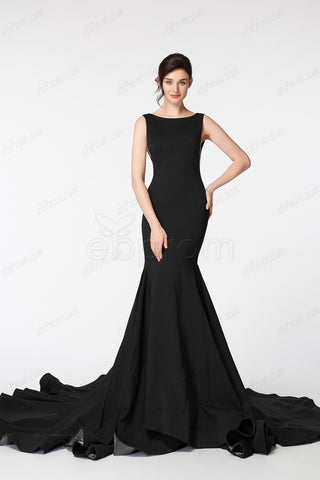 Black backless pageant evening dresses long