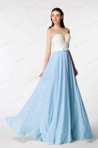 Backless Light Blue Pearls Beaded Long Prom Dress