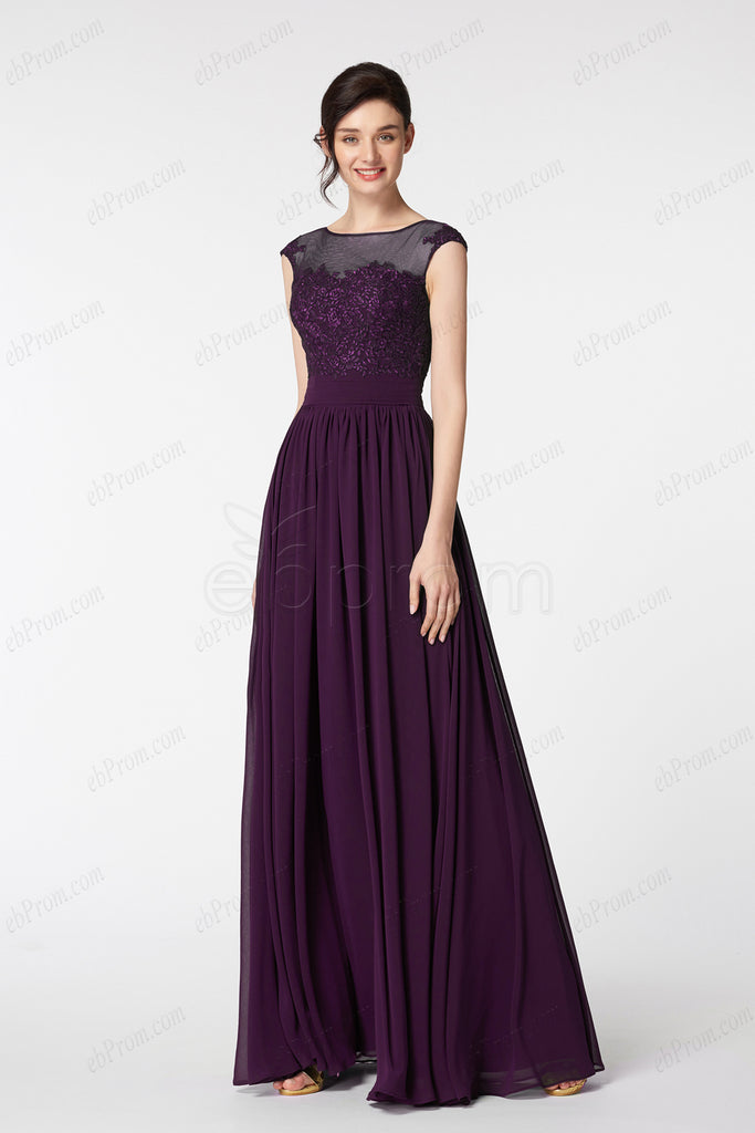 Eggplant Modest Long Bridesmaid Dresses