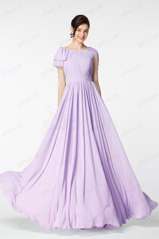 deac1455401 Modest lavender long bridesmaid dresses with sleeves