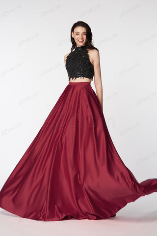 Burgundy black two piece halter prom dresses long