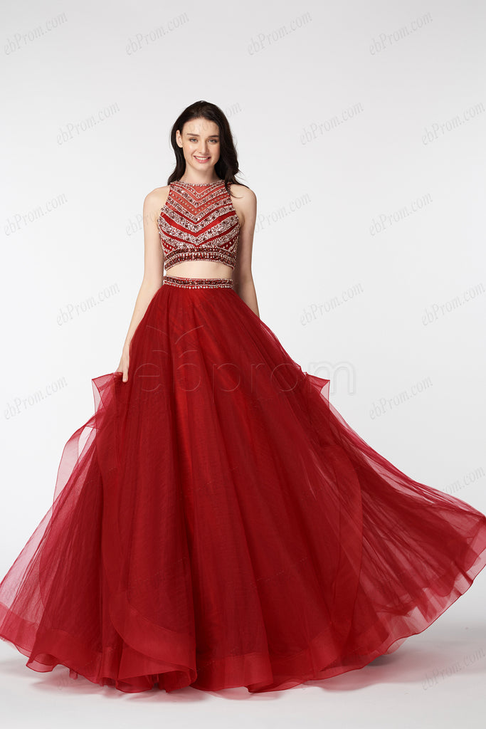 Beaded Red Two Piece Long Prom Dresses