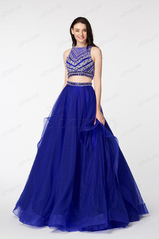 Beaded Sparkle Sapphire blue Prom Dresses long ball gown two piece