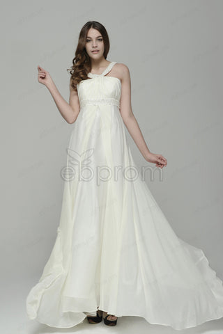 Pearls chiffon beach wedding dresses