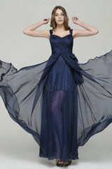 Navy blue evening dress with straps