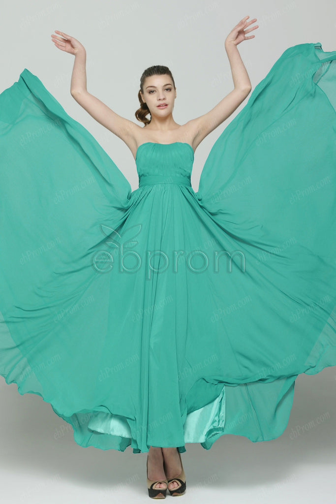 Sweetheart Green chiffon prom dresses long