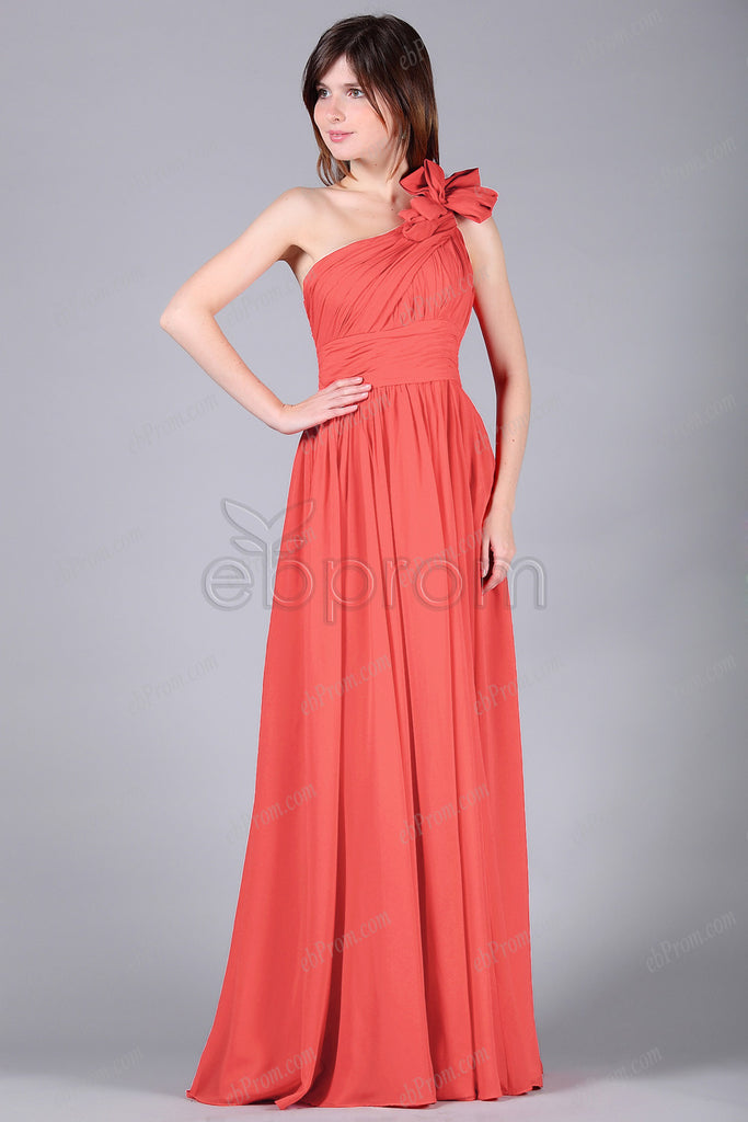One shoulder coral bridesmaid dress
