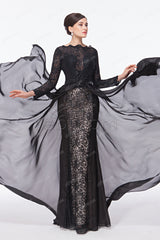 Black lace backless prom dresses long sleeves