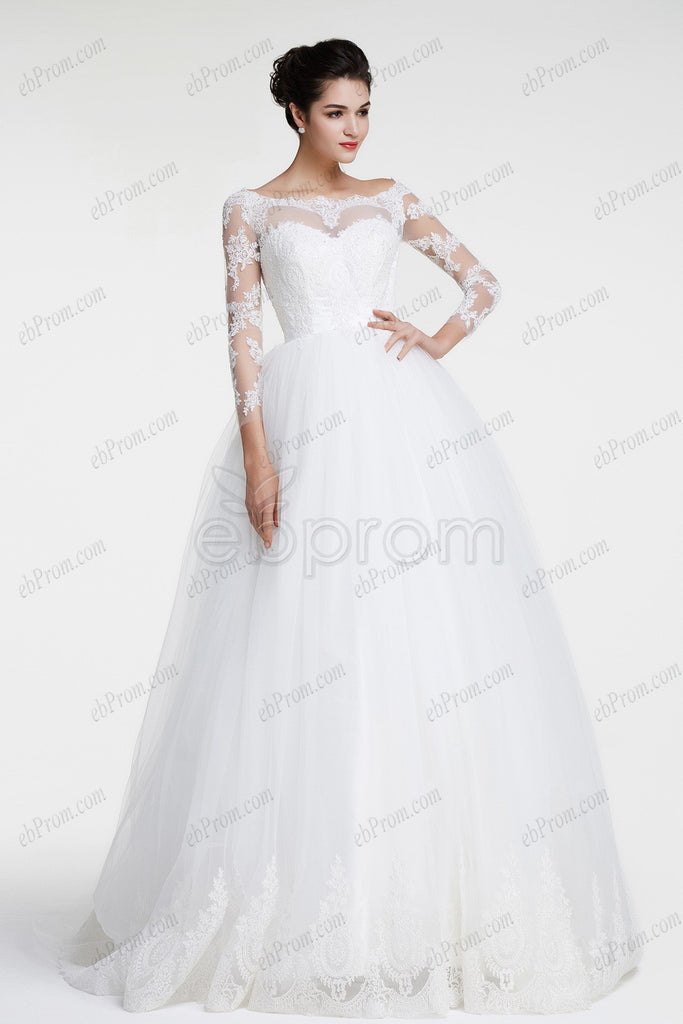 Modest ball gown lace wedding dresses long sleeves – ebProm