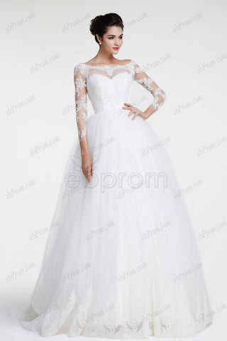 Modest ball gown lace wedding dresses long sleeves