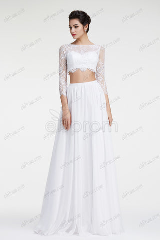 Two piece lace chiffon beach wedding dresses long sleeves