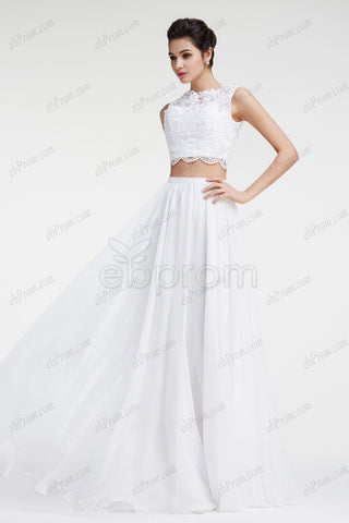 Two piece lace chiffon boho beach wedding dress