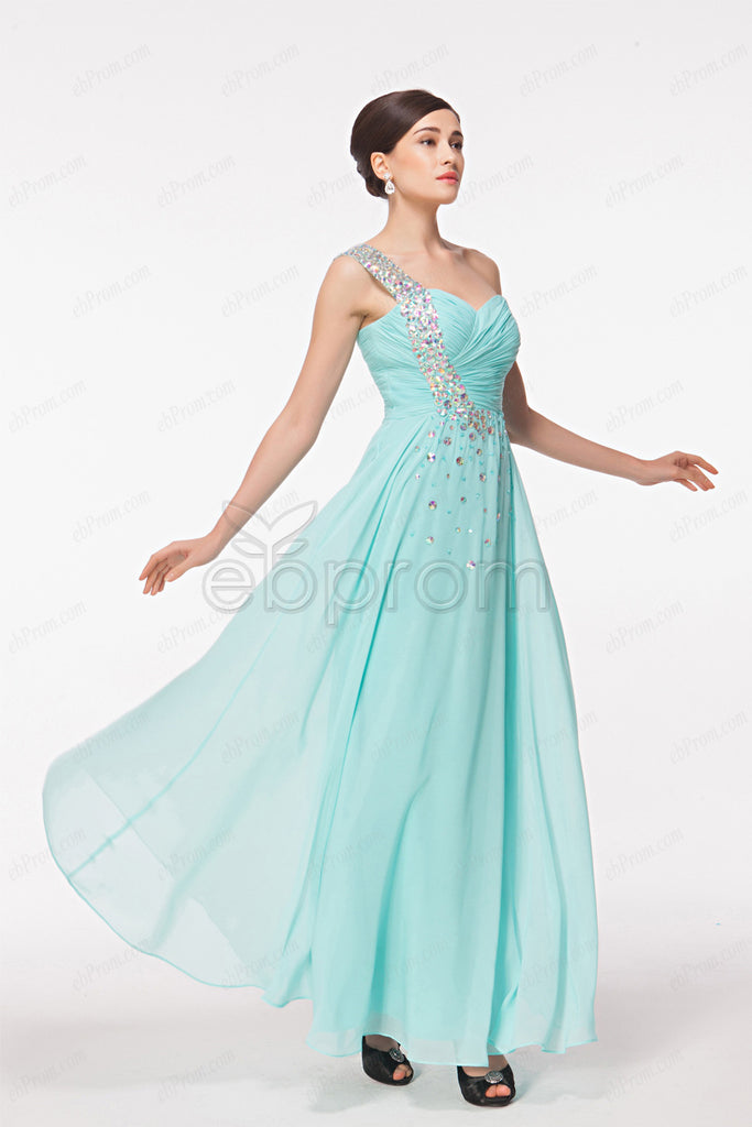 Light blue crystal sparkly prom dresses long