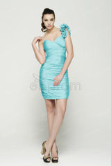 Light blue short bridesmaid dress