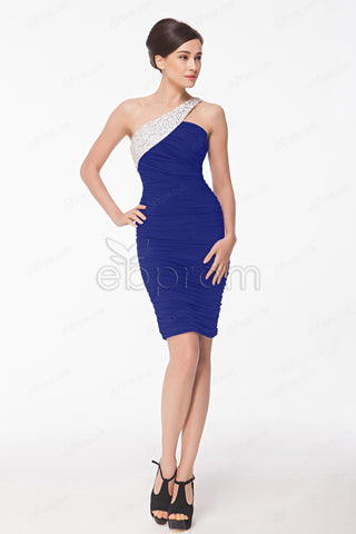 Royal blue Sheath Crystals Homecoming dresses