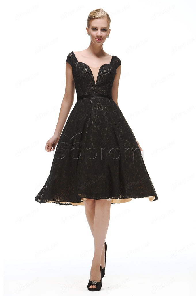 Vintage black lace short prom dress homecoming dresses