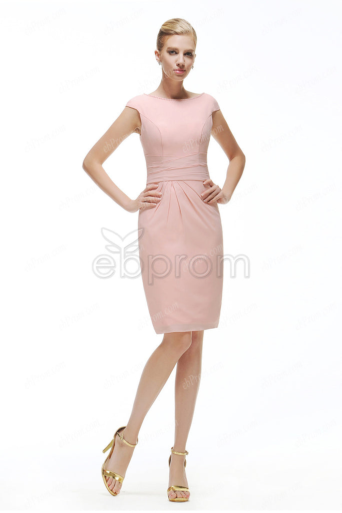 Pink modest cocktail dresses cap sleeves – ebProm