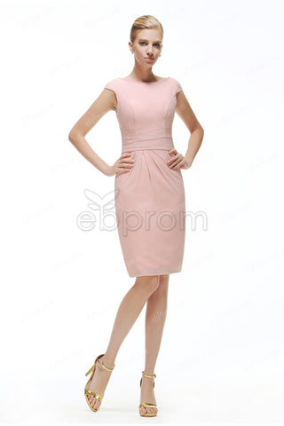Pink modest cocktail dresses cap sleeves
