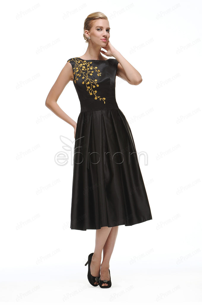 Black cocktail dresses tea length with embroidery