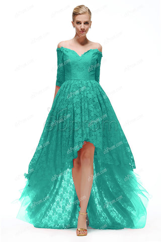 Off the shoulder Green lace high low bridesmaid dresses with sleeves