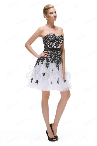 Black and white short prom dresses homecoming dresses