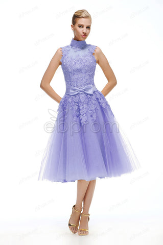 Vintage Lavender homecoming dresses tea length