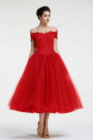 Ball gown Red off the shoulder vintage prom dresses