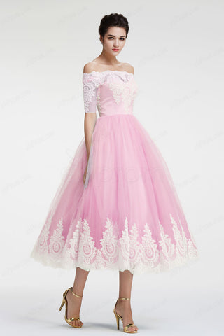 Light pink off the shoulder homecoming dresses