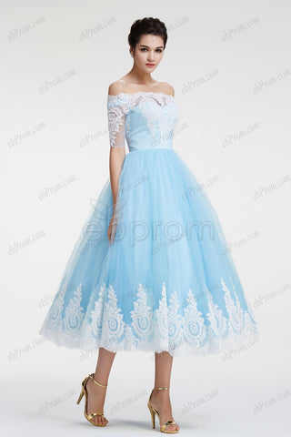 Ball Gown light blue Off the Shoulder Prom Dress with sleeves