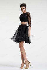 Black two piece short prom dress long sleeves