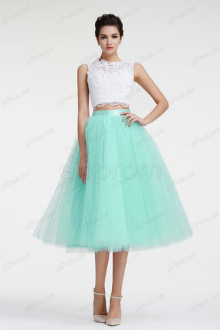Mint green two piece homecoming dresses ball gown prom dress tea length