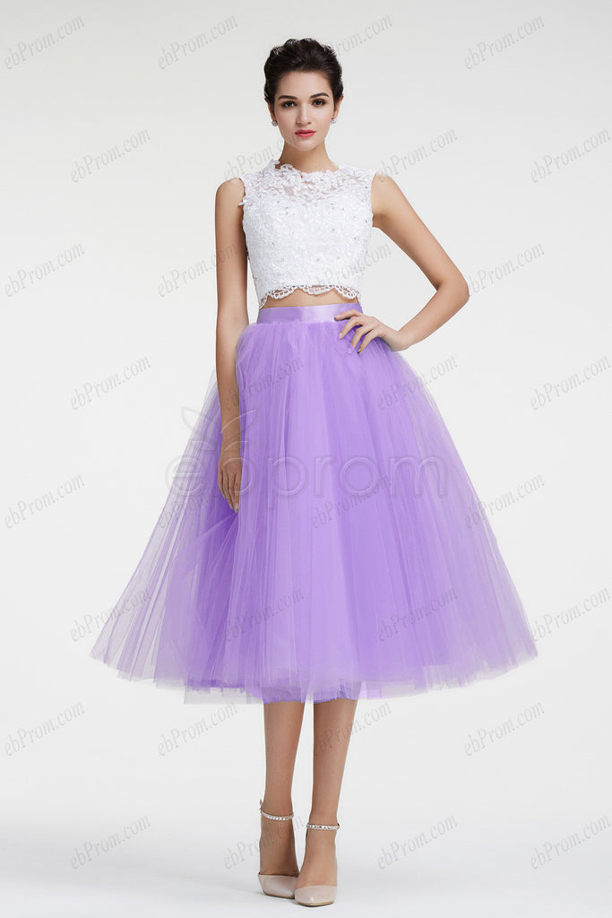 Lavender two piece short prom dresses key hole back